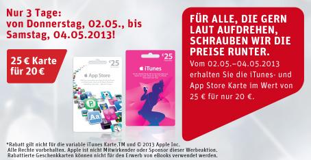 iTunes Guthabenkarten mit 20% Rabatt bei Rewe