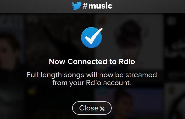 twitter music rdio