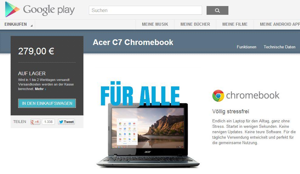 Chromebooks jetzt auch in Deutschland bei Google Play