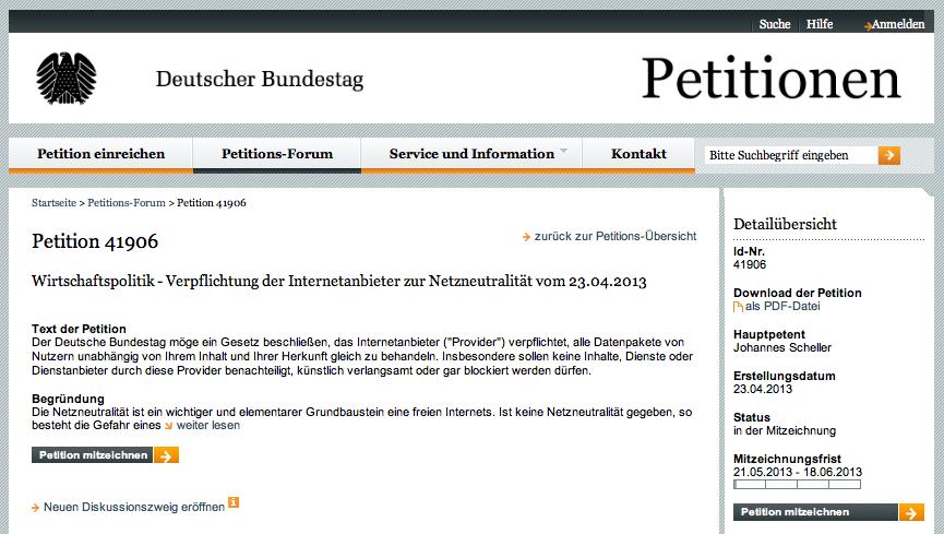 Petition zur Netzneutralität an den Deutschen Bundestag