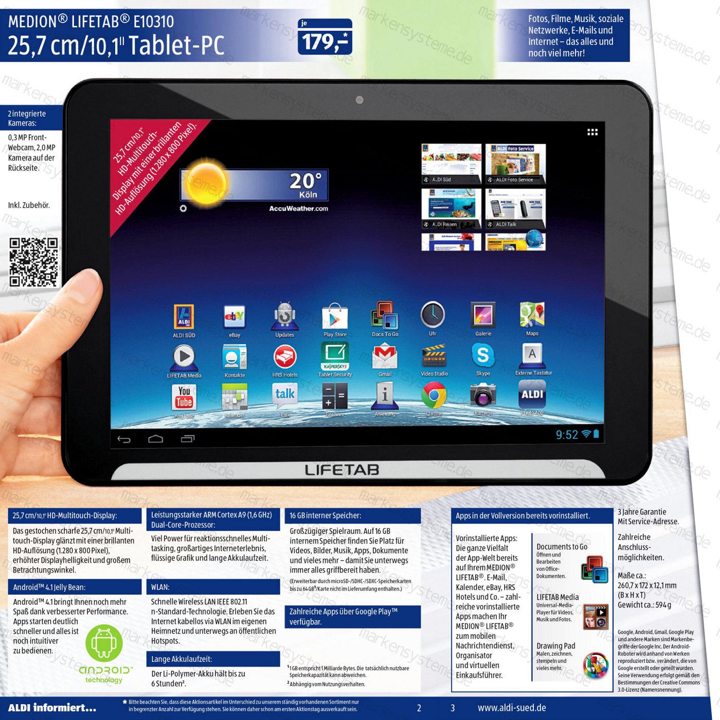 Medion Lifetab E10310 bei Aldi-Süd – 10.1inch Tablet für 179 Euro