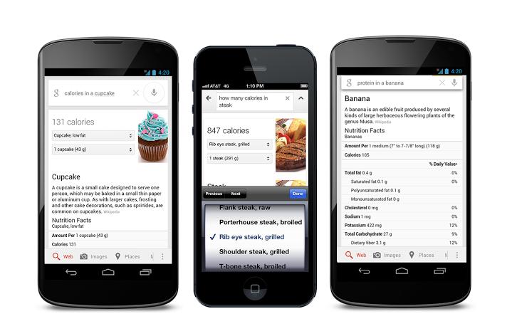 Google nimmt Nährwert-Informationen für über 1.000 Lebensmittel in Suche auf