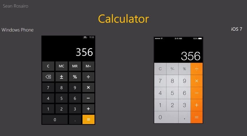 Windows Phone 8 vs iOS 7 Calculator iOS 7 vs Windows Phone 8   Nutzt Jony Ive heimlich ein Nokia Lumia?