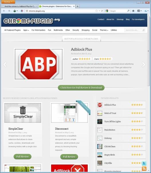 chrome plugins org award 2013 06 16 527x605 Adblock Plus Undercover   Einblicke in ein mafioeses Werbenetzwerk
