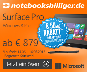 nbb surface pro aktion 300x250 Deals of the Day   iPod Touch, Microsoft Surface inkl. Gutscheincode