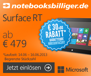 nbb surface rt aktion 300x250 Deals of the Day   iPod Touch, Microsoft Surface inkl. Gutscheincode