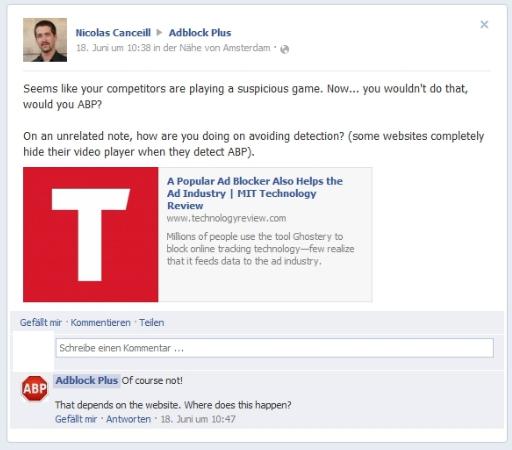 ABP Facebook of course not Adblock Plus Finale   Tacheles, Reaktionen, weitere Ergebnisse