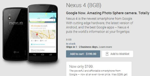 Google senkt Nexus 4 Preise: 199 Euro fuer 8GB, 249 Euro fuer 16GB Variante