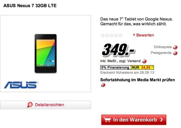 Nexus 7 kann bei Media Markt vorbestellt werden – LTE-Version für 349 Euro *Update: bei Saturn ab 28.8.*