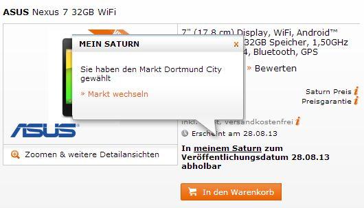 Nexus 7 Saturn Dortmund Nexus 7 kann bei Media Markt vorbestellt werden   LTE Version für 349 Euro *Update: bei Saturn ab 28.8.*