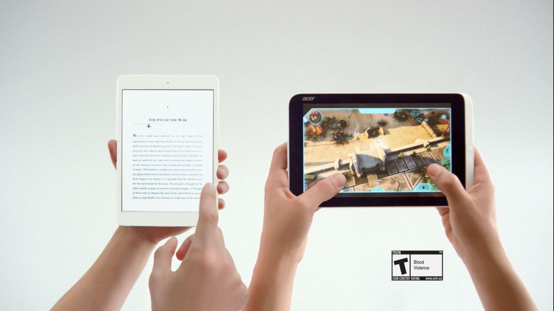 Neue Microsoft-Werbung zeigt Duell zwischen iPad mini und Acer Iconia W3