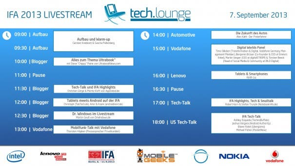 ifa timetable 605x340 IFA Techlounge Sendeplan ab 10 Uhr   Vodafone, Lenovo, Pocketnow, Android Authority, Androidnext, Tabtech und mehr