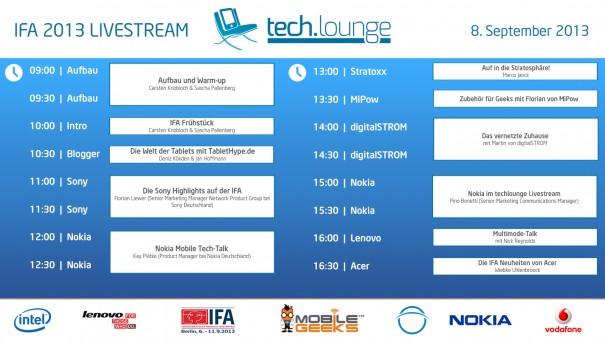 ifa timetable1 605x340 IFA Techlounge Sendeplan   Nokia, Sony, Mipow, digitalSTROM, Stratoxxx, Tablethype