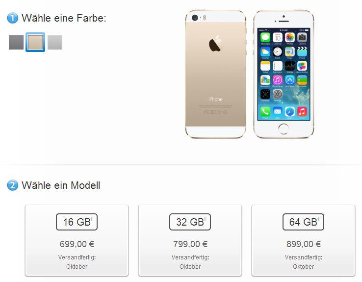 iphone 5s oktober Apple iPhone 5S: Nicht mehr lieferbar bis Oktober