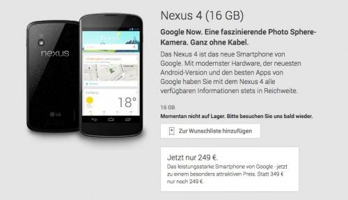 nexus 4 play store ausverkauft 500x288 News:Nexus 4 ausverkauft, Xperia Z1 mit kostenloser Smartwatch, Galaxy Ace 3 in Deutschland
