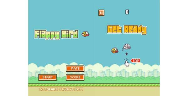 Szene aus dem Spiel Flappy Bird