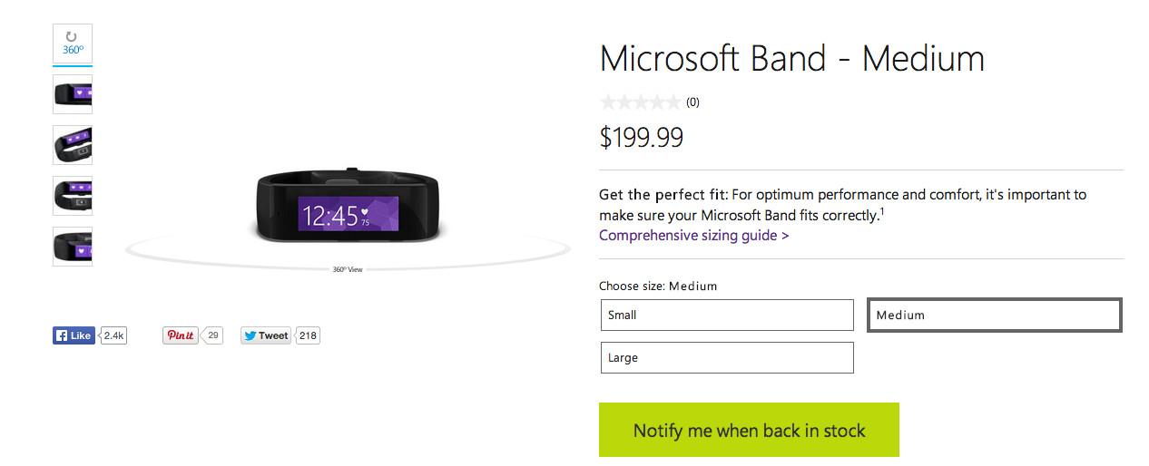 Microsoft Band ausverkauft