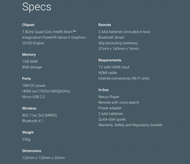 Nexus Player Spezifikationen