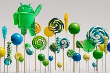 Ein Wald aus Lollipops, mittendrin das grüne Android Maskottchen
