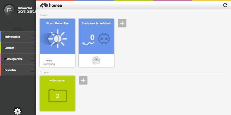 Homee WebApp - Geräteübersicht