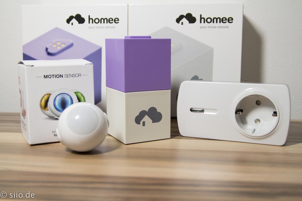 Homee mit Fibaro Motion Sensor und Everspring Steckdose