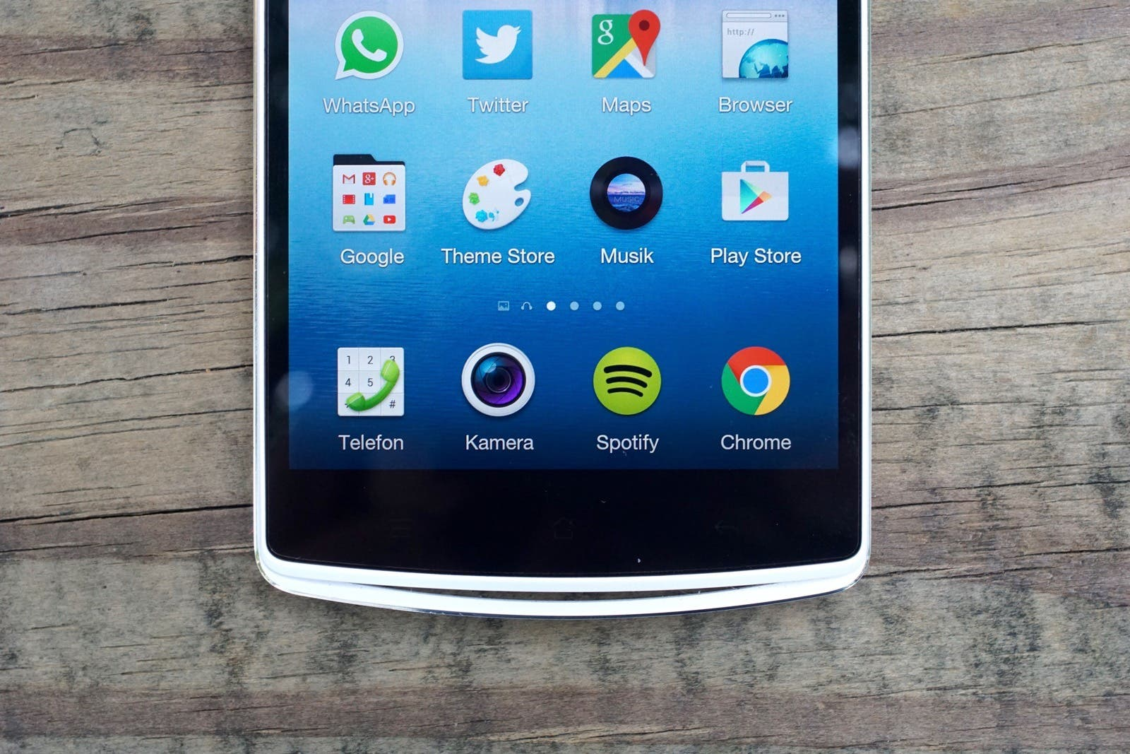 OPPO N3 unterer Teil vom Display. Scharfe Icons, gut gesättigte Farben