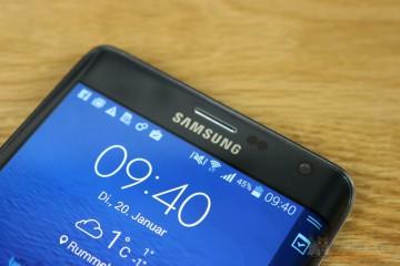 Samsung Galaxy Note Edge von vorn, oberes Drittel