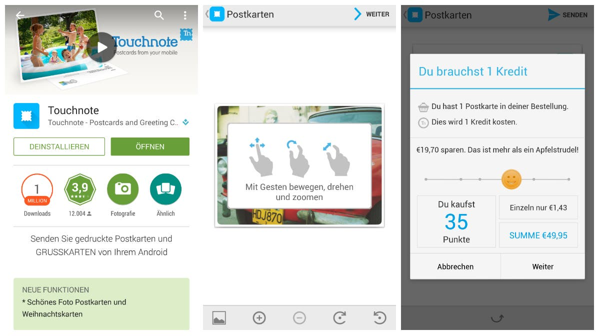 Touchnote postkarten app test