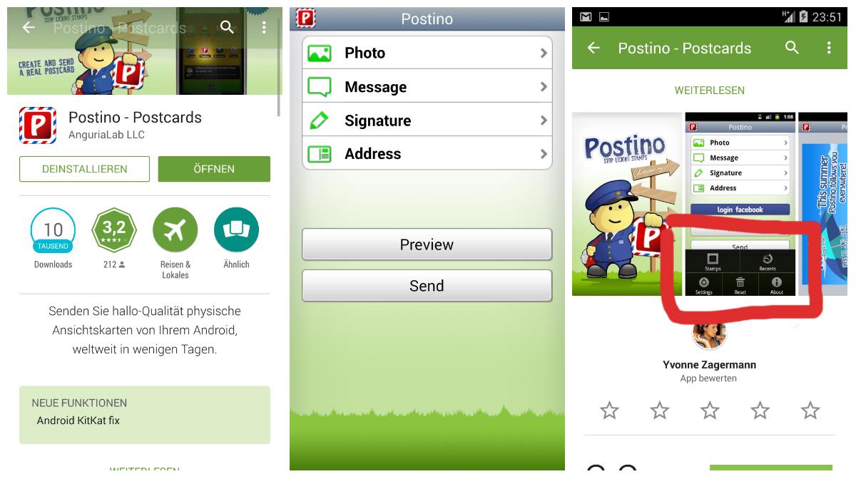 postino Postkarten App TEST