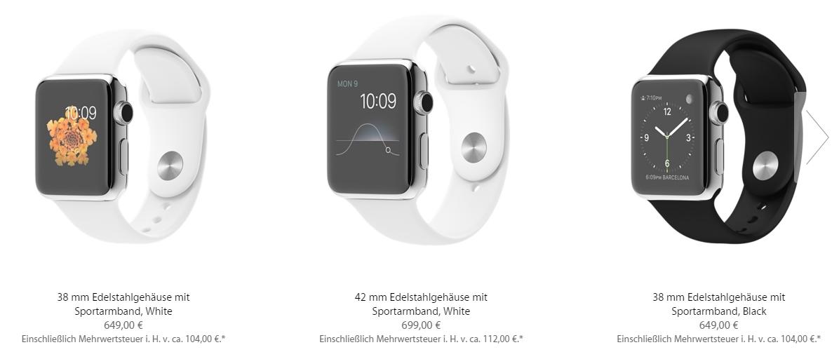 Apple Watch deutsche Preise 1