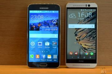 HTC One M9 und Samsung Galaxy S5 von vorn