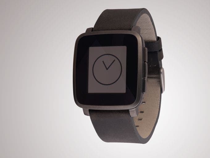 Gunmetal Pebble Time Steel with black leather strap