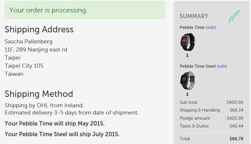 Pebble Time Shipping