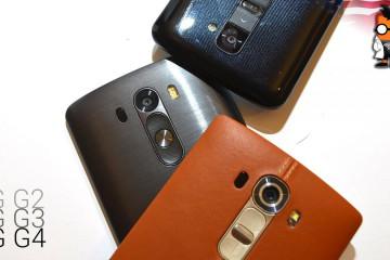 LG G2, LG G3 und LG G4 Rückseiten auf einem Bild