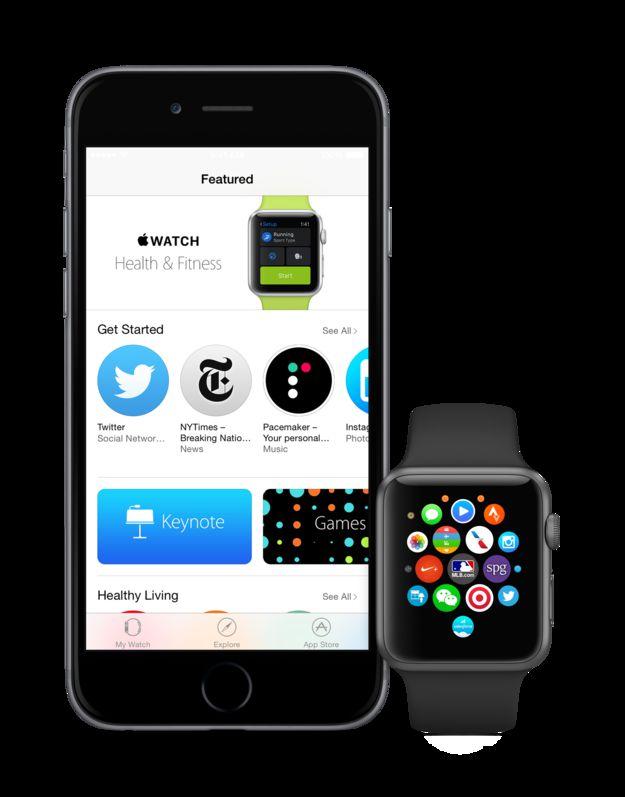 Bild eines iPhones und einer Apple Watch mit geöffnetem App Store