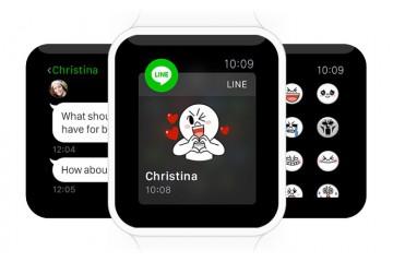 Apple Watch mit geöffneter Line-App