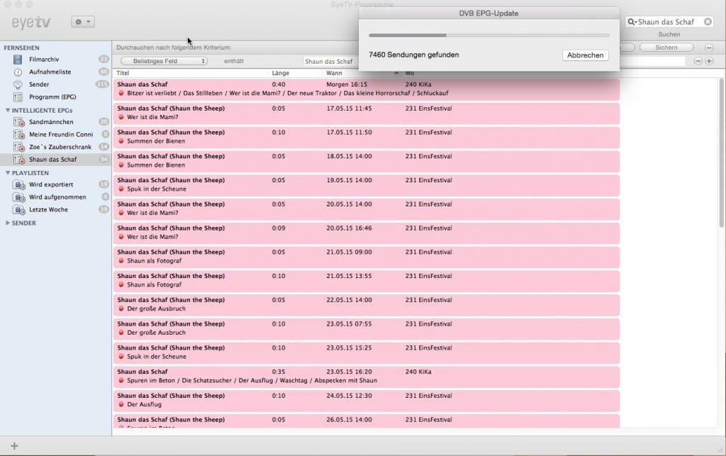 elgato eyeTV Software - aktualisierung der EPG Daten