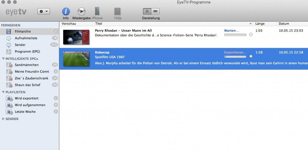 elgato eyeTV Software - Filmarchiv der programmierten Aufnahmen