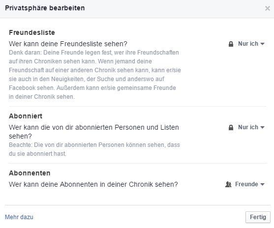 Screenshot: Facebook Freunde Privatsphäre-Einstellungen