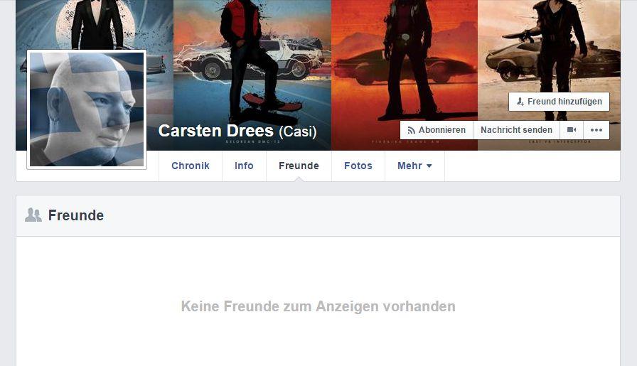 Screenshot: Facebook-Profil - Freunde-Übersicht