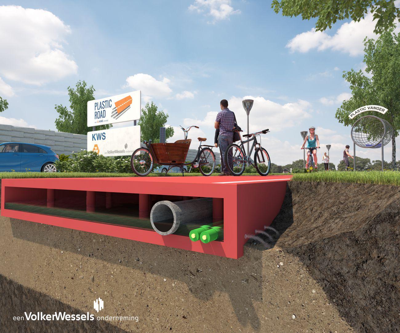 Konzept für Kunststoff-Straßen - Querschnitt