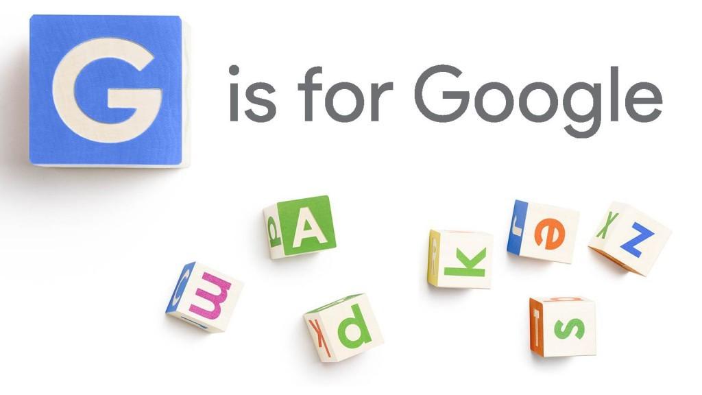 G is for Google-Logo mit Buchstaben-Würfeln