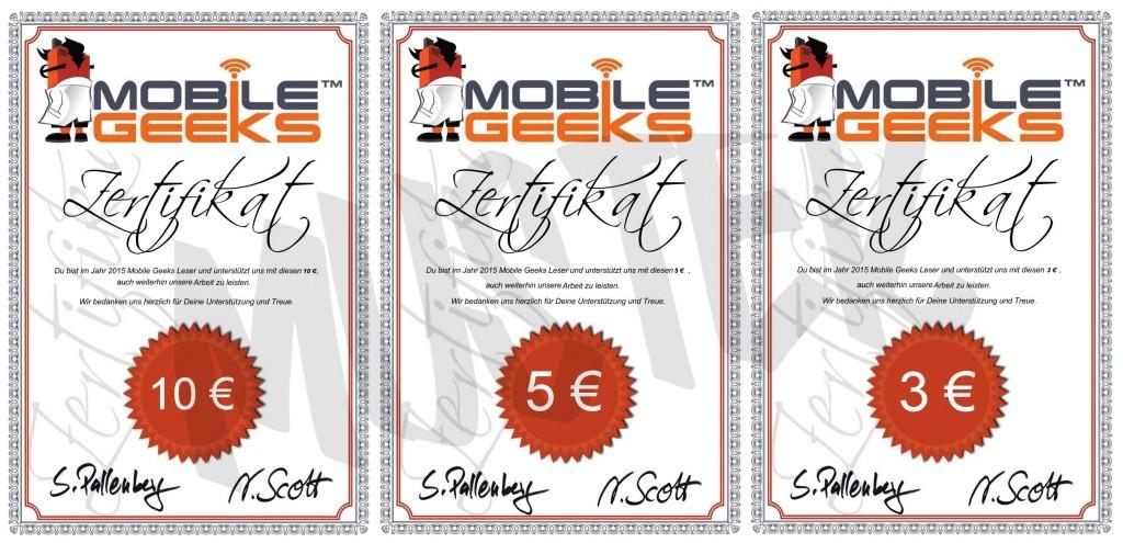Zertifikate Sponsoring Mobile Geeks