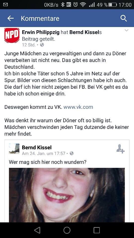 Rassistische Hetze: Mädchendöner - Screenshot von Rhetorische Perlen von AfD- und NPD-Anhängern