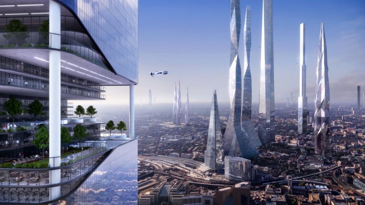 Moderne Stadt im Jahr 2116
