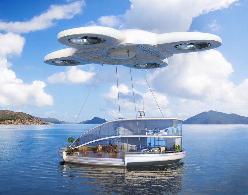 Ferienhaus auf dem Wasser an einer Drohne