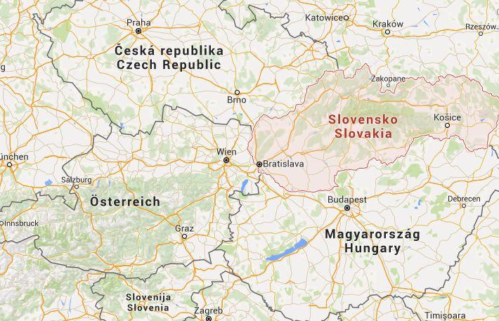 Landkarte Österreich Slowakei und Ungarn