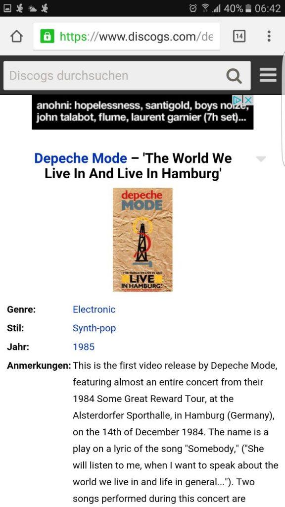 Screenshot Discogs