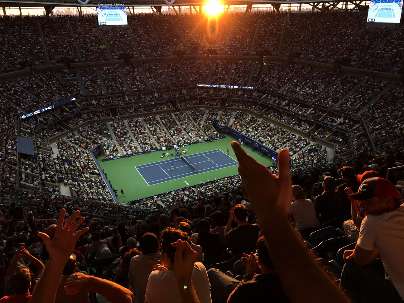 NEW YORK, NY - SEPTEMBER 11: The crowd erupts during the men's final action between Novak Djokovic and Stan Wawrinka during Day 14 of the 2016 US Open at the USTA Billie Jean King National Tennis Center on September 11, 2016 in Queens. (Landon Nordeman for ESPN)
