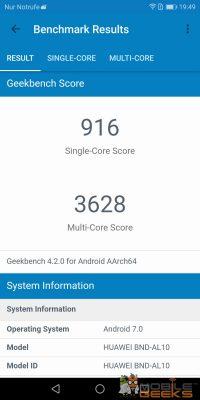 Honor 7X Geekbench Benchmark